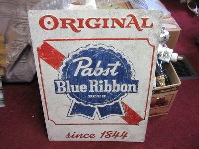NEW Pabst Blue Ribbon Wooden Beer Bar Sign PBR Tacker Wood Mancave Decoration