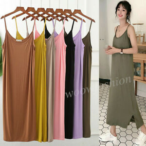 Women-Cami-Full-Slip-Plain-Long-Loose-Dresses-Camisole-Liner-Under-dress