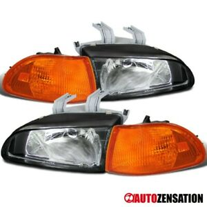 For 92-95 Honda Civic 4 Door 1 Piece Black Headlight Clear Turn Signal Reflector