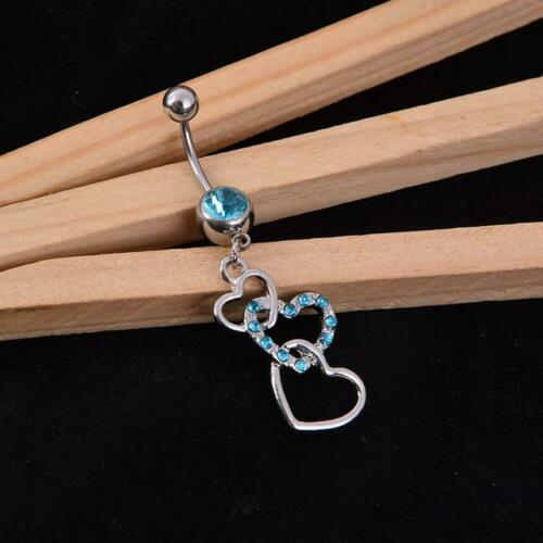 Triple Heart Belly Bars Body Piercing Belly Button Ring Crystal Dangle Navel Bar