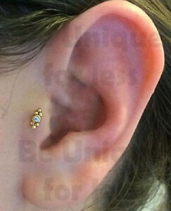New Crystal Double Sided Balls Tragus Helix Bar Cartilage Earring