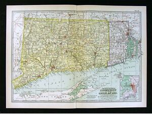 1902-Century-Atlas-Map-Connecticut-amp-Rhode-Island-Newport-Providence-New-Haven