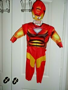 NEW Disney Marvel Iron Man Costume Toddler Size 2-4 Years Padded Jumpsuit