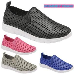 Ladies-Get-Fit-Go-Walking-Memory-Foam-Gym-Fitness-With-Holes-Trainers-Shoes-Size