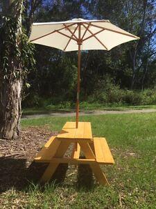 Children kids timber wooden outdoor picnic table with - Children s picnic table with umbrella ...