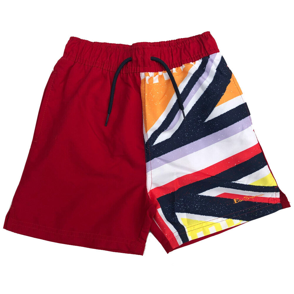15 Years Ben Sherman Boys Swimming Shorts Dawn Red Union Jack Ages 7 Years