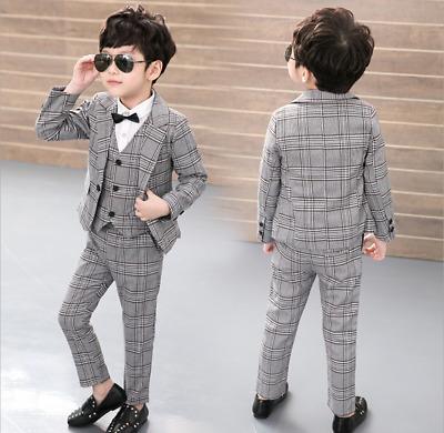 Child Gentleman Boy Wedding Party Concert Costume Blazer Suit Formal Clothes Set