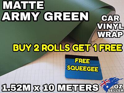 MATT MATTE ARMY GREEN VINYL WRAP FILM ROLL KITCHEN CUPBOARD DOORS AIR Release