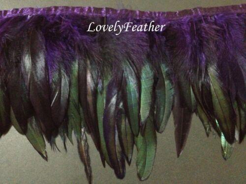 Coque feather fringe of dark purple irridescent colour 1 metre trim