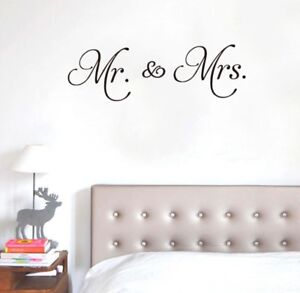 Mr and Mrs Wall Decal removable sticker quote mural married wedding art decor
