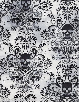 REST Skull Damask Totenköpfe Gothic Patchworkstoffe Stoffe Halloween Patchwork