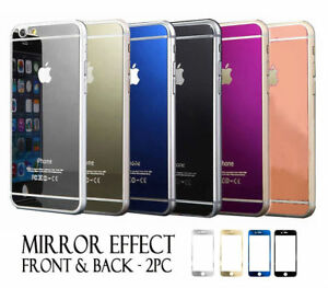 official photos 6e502 6687e Details about Front & Back Color Mirror Tempered Glass Screen Protector  iPhone 6 6s & 6s Plus