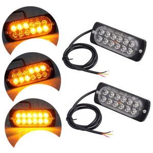 2X-12-Car-LED-Truck-Emergency-Light-Flash-Strobe-Brake-Lamp-Warning-Beacon-Amber