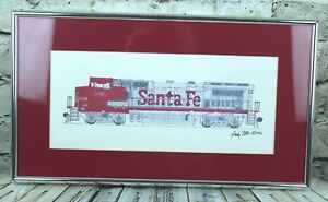 Santa-Fe-Train-Engine-Original-Ink-Drawing-by-Andy-Fitt-1992-Framed-Matted