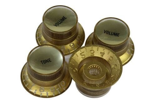 Bell Hat Knobs Gold w// Smooth Gold Reflectors for Import guitars