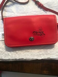 NWT-COACH-DISNEY-MICKEY-MOUSE-MSRP-395-red-Leather-F59374-CROSSBODY-DETACH-BAND