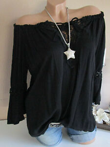 36 40 Hippie Batik Nero Crochet Italia Boho Camicetta 38 Oversize Shirt Tunica wPSzEnRqWE
