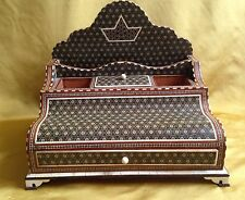 Vintage Persian Large Micro Mosaic Wooden Inlay Desk Tidy
