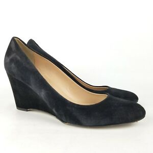 J-Crew-Martina-Suede-Wedge-Heels-Black-Size-8-5-Made-in-Italy-Leather-Shoes-Pump