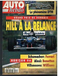 A21- Auto Hebdo N°996 Gp De Hongrie Damon Hill,schumacher,alesi,villeneuve Les Commandes Sont Les Bienvenues.
