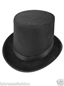 Tall-Black-Velour-Top-Hat-Lincoln-Felt-Victorian-Ringmaster-Fancy-Dress-Costume