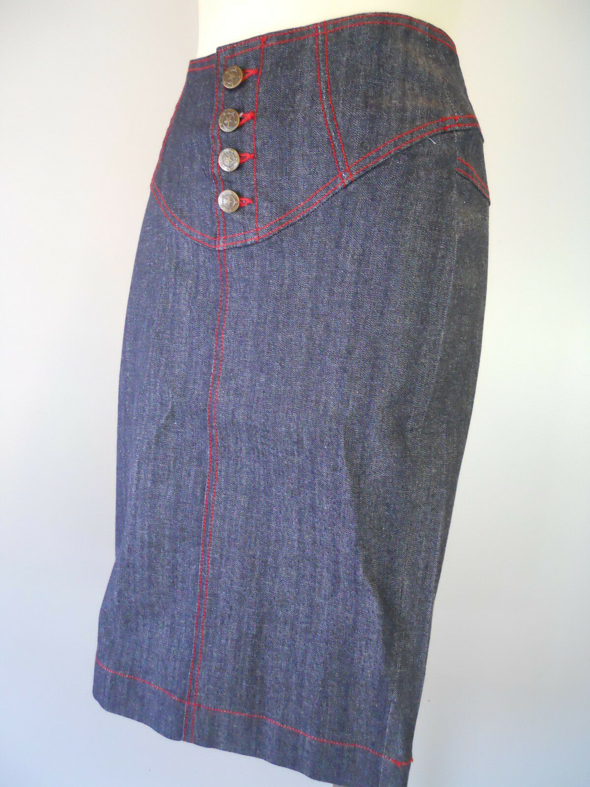 Nos Lip Service Western Cowgirl Navy bluee Jeans Pencil Skirt Pinup Rocabilly S