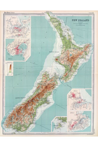 1922 Antique Map from The Times Atlas /& Gazetteer New Zealand