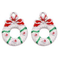 20pcs White Red Green Enamel Christmas Jewelry Charms Alloy Pendants Handmade D