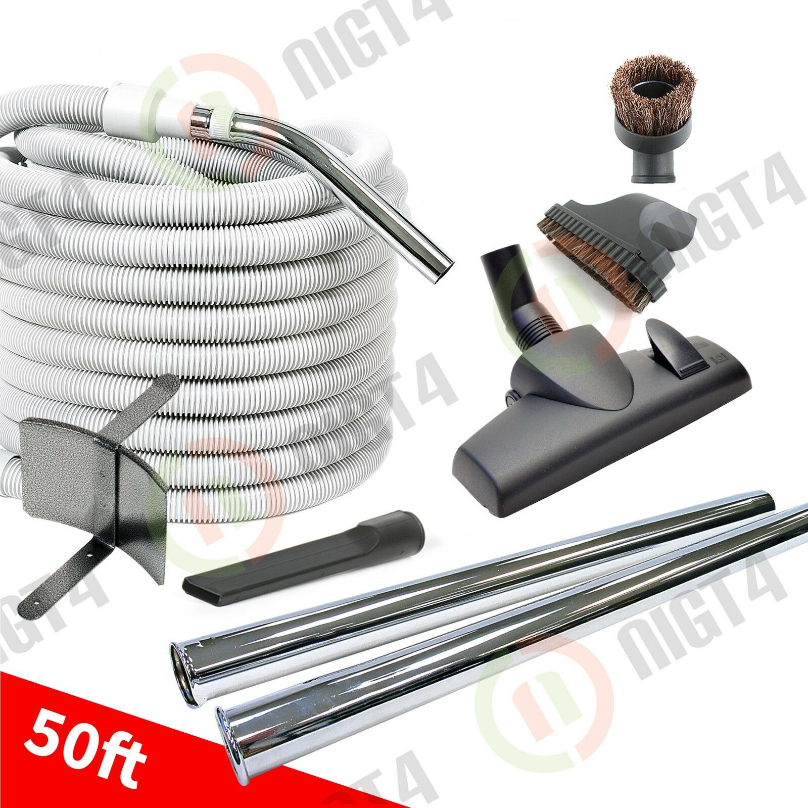 NeW   50' Deluxe Central Vac Vacuum Hose & Attachment Kit- SuperkiT