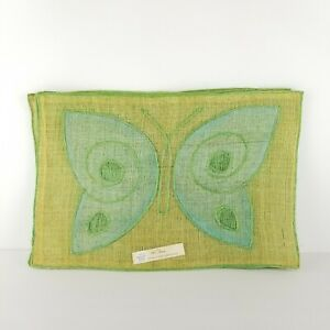 Mid-Century-Placemat-Yellow-Abaca-Woven-Straw-Butterfly-NOS-Vintage