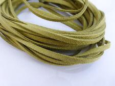 5m x 3mm Verde Oliva ECOPELLE Imitazione Pelle Scamosciata Cavo Tanga Pizzo DELLA COLLANA