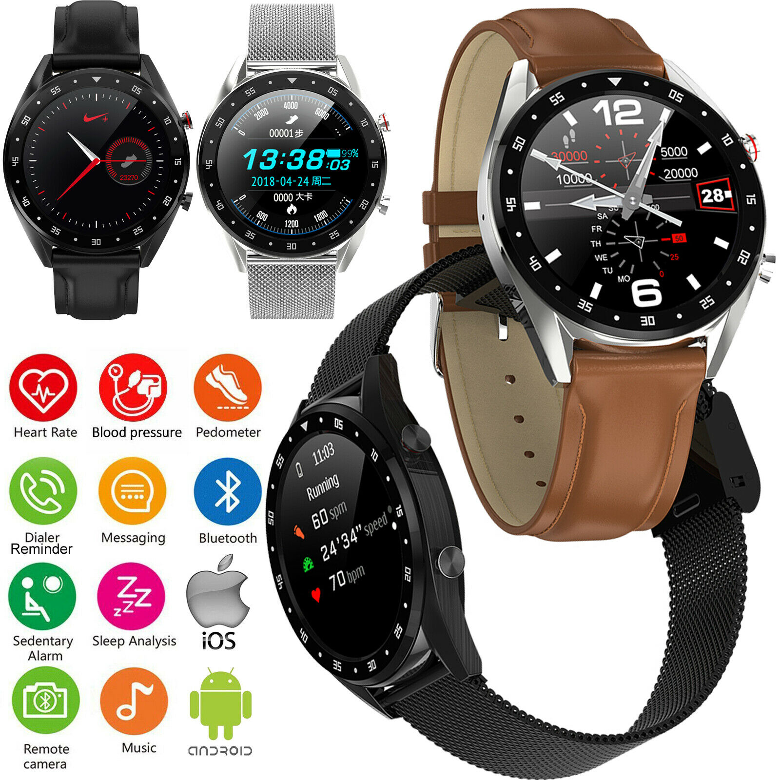 Smart Watch Bluetooth Phone Heart Rate ECG Tracker for iPhone Samsung Moto LG bluetooth ecg for heart iphone phone rate smart tracker watch