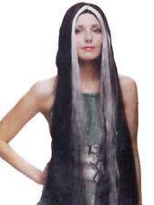 "30/"" LONG STRAIGHT HAIR WICKED WITCH COSTUME WIG STREAK BLACK WHITE HELGA WOMENS"