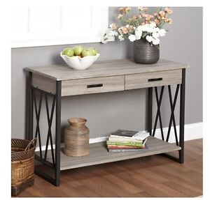 NEW Grey Rustic Reclaimed Wood Sofa Table Console Metal Industrial