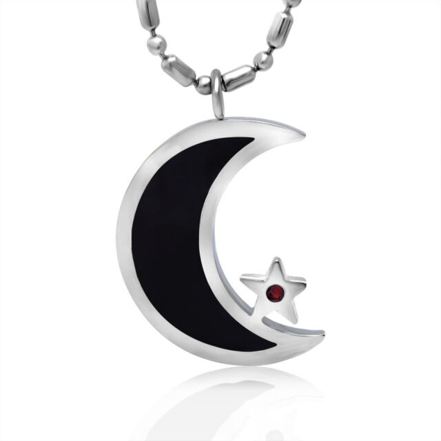 Enamel Silver Tone Stainless Steel Islamic Crescent Moon & Star Pendant Necklace