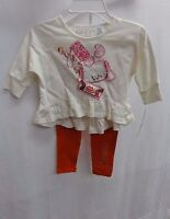 Guess Little Girls' Embellished Hi Low Logo Tee 2 Pc Set, Ivory/red, S (4)