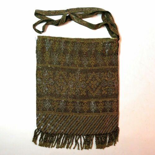 Antique Vintage Lovely Metal Beaded Purse Bag Hand