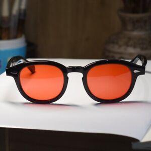 New-Retro-Vintage-Johnny-Depp-sunglasses-red-lenses-mens-womens-black-eyeglasses