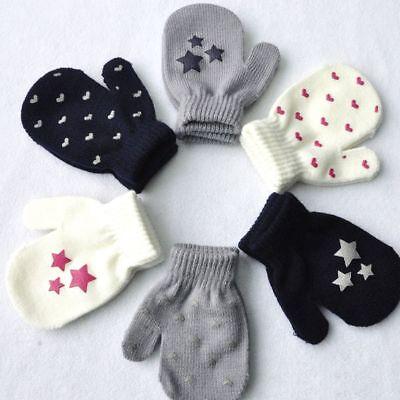 Soft Dot Star Heart Pattern Mittens Kids Boys Girls Soft Knitting Warm Gloves