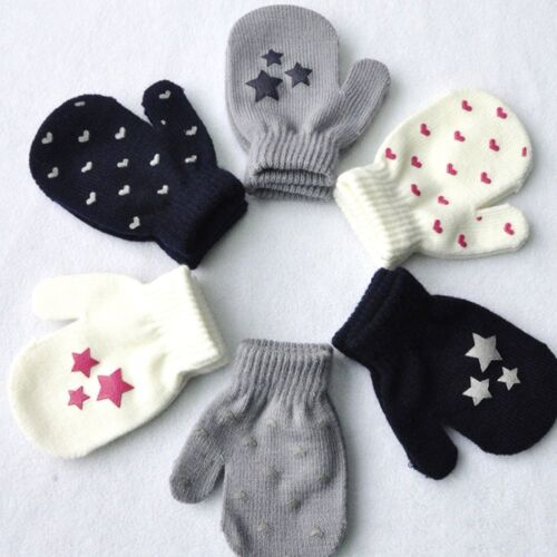 Cute Dot Star Heart Pattern Mittens Kids Boys Girls Soft Knitting Warm Gloves