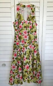 Talbots-Womens-Size-4-Green-Pink-Floral-Sleeveless-Sheath-Dress-V-Neck