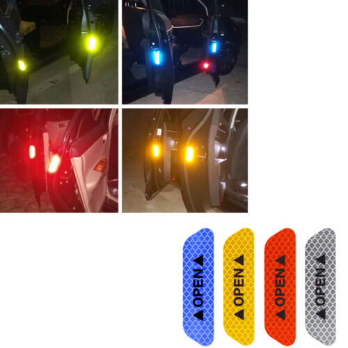4PCS Auto Door Open Sticker Reflective Tape Safety Warning Decal Universal Car
