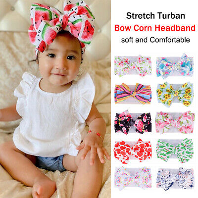 Printed Baby Big Bow Headband Head Wraps  Knotted Nylon Hairband Elastic Turban