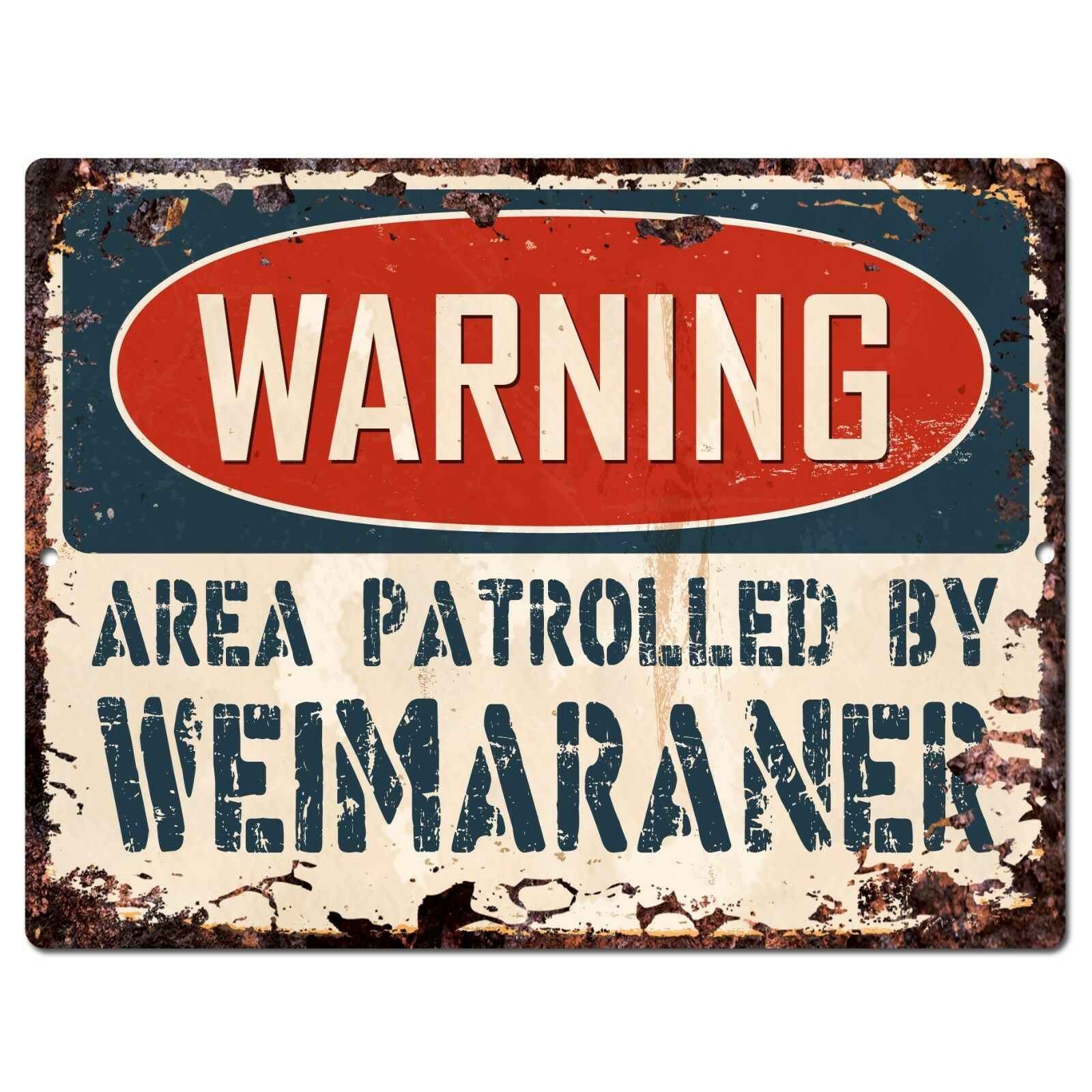 PP2471 WARNING AREA PATROLLED BY WEIMARANER Plate Chic Sign Home Decor