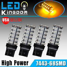 4x Amber/Yellow 7443/7440 68-SMD Turn Signal Tail Backup Reverse LED Light Bulbs