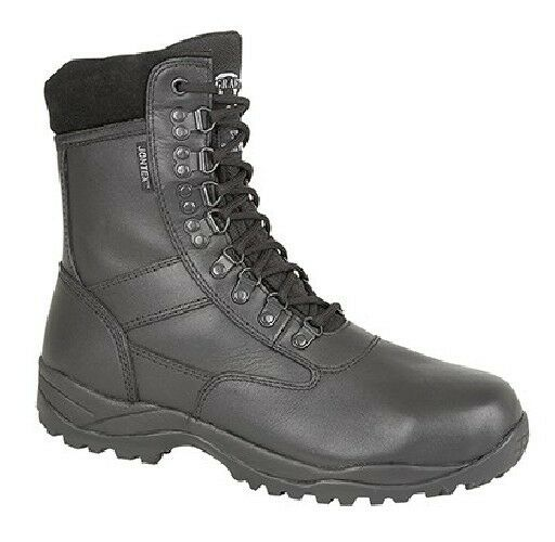 Unisex Grafters 'TORNADO' Combat Military Uniform Safety Boots Black Leather