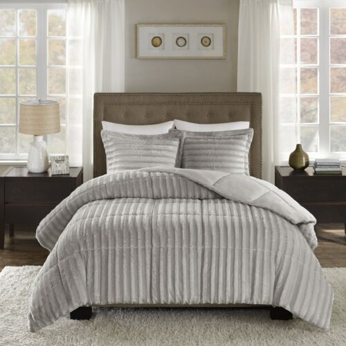 Full Queen Cal King Size Bed Solid Gray Grey Striped Faux Fur 3 pc Comforter Set