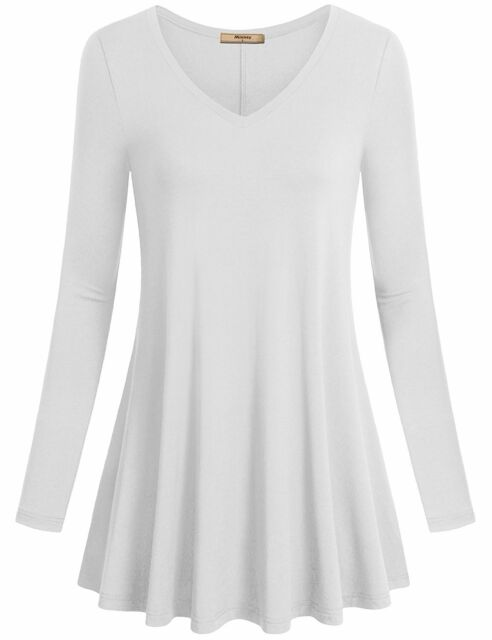 c1adcb076d5 Miusey Women s V Neck Long Sleeve Flared Shirt Flowy Loose Fit Casual Tunic  Tops