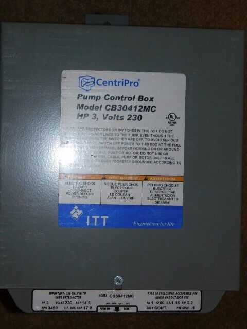 GOULDS CentriPro 3HP CONTROL BOX FOR SUBMERSIBLE WATER WELL PUMP CB30412MC