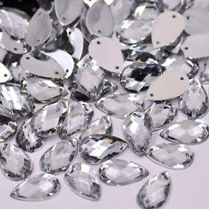 AB Crystals Flatback Rhinestones SEW On Acrylic Stones OVAL 18 MM*25 MM CLEAR
